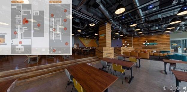 画像:2020年4月に竣工した開発拠点の新棟。社員が活き活きと働き、様々なアイディアが生まれていく現場を、360°バーチャルツアーで紹介。